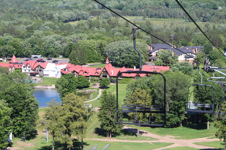 outdoor shot of main lodge and chairlift